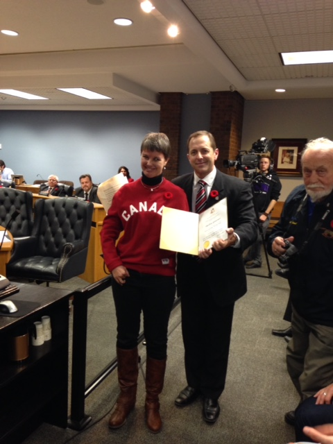 Shelley being honoured by the Niagara Falls Mayor and City Council for a good season.