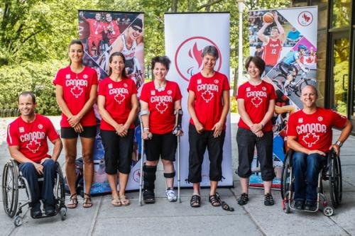 Para-cycling team members (l to r) Mark Ledo, Audrey Lemieux, Robbi Weldon, Marie-Ève Croteau, Shelley Gautier, Marie-Claude Molnar, Charles Moreau