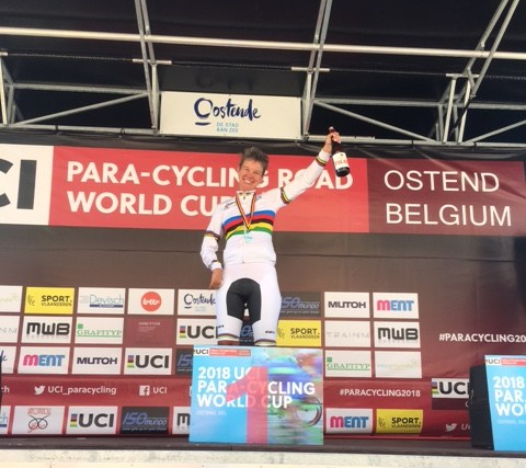 Shelley won the Gold Medal in the Time Trial at World Cup 1 - Belgium